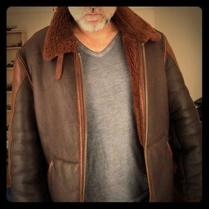 Classic Sheepskin lined Leather Flying Jacket.